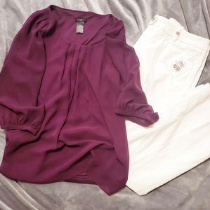 NWOT Ann Taylor Plum sheer 3/4 sleeve blouse